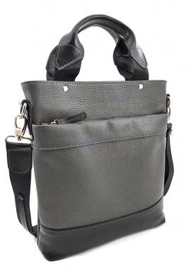 Фото Мужская кожаная сумка с ручками Ватто Mk13.6 серо-черная