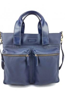 Фото Синяя кожаная сумка для документов Ватто Mk6.8