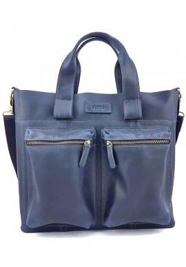 Фото Синяя сумка для документов из натуральной кожи Ватто Mk6.8