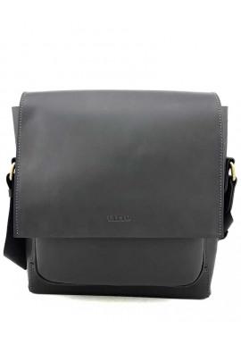 Фото Кожаная сумка на плечо из черной гладкой кожи Ватто Mk6.5