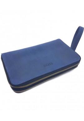 Фото Синий кожаный клатч на 2 отделения Vatto МК 82