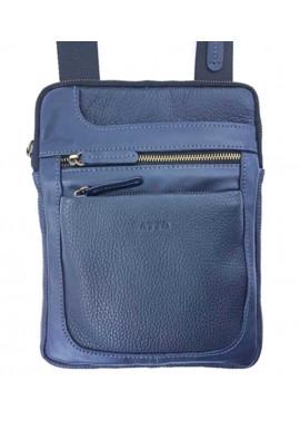 Фото Синяя сумка-планшет из фактурной кожи Ватто Mk 88