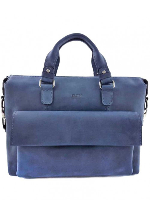 Синяя кожаная сумка для документов Vatto МК 25.1