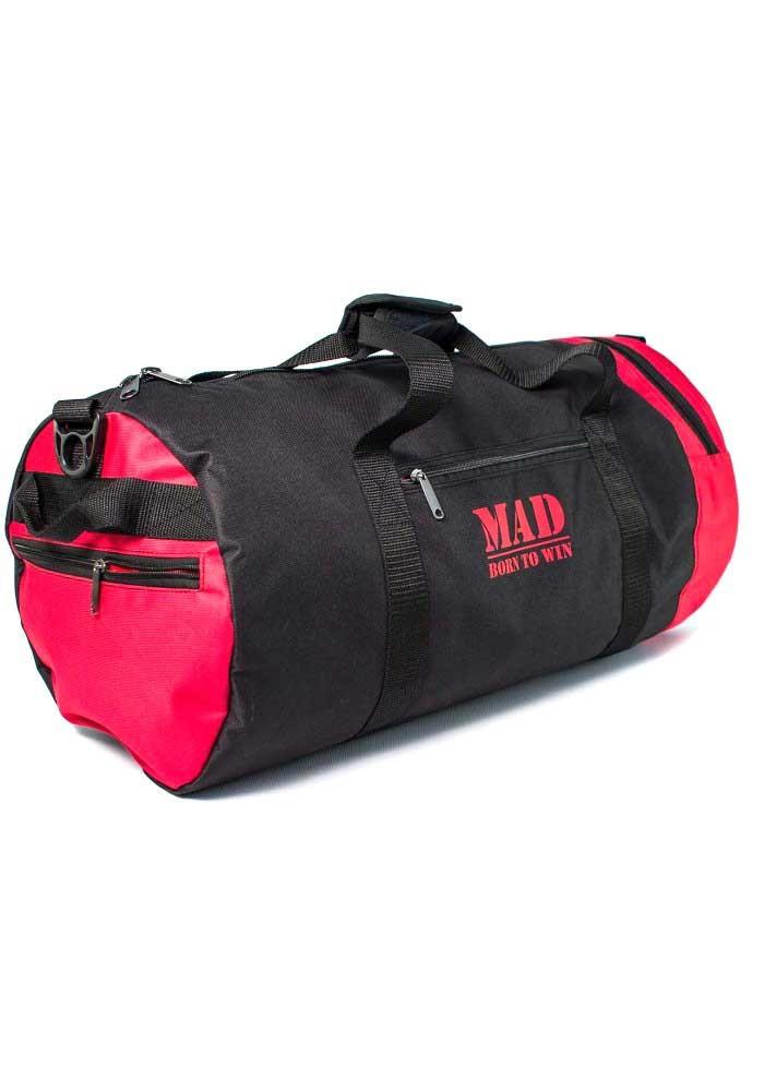 Спортивная мужская сумка-тубус 40L TM MAD черно-красная