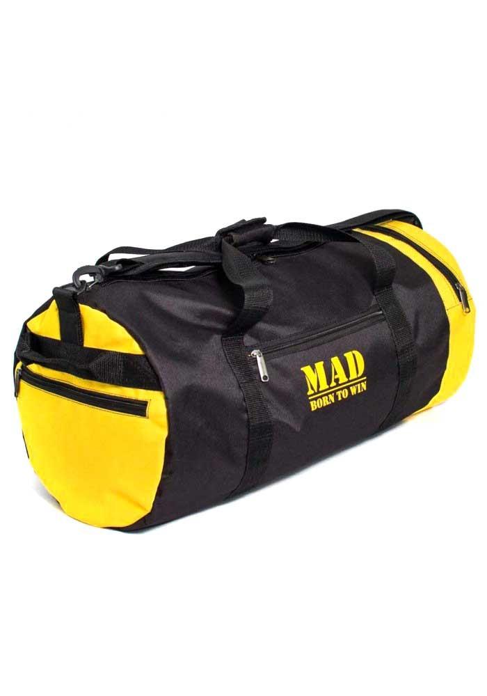 Спортивная мужская сумка-тубус 40L TM MAD черно-желтая
