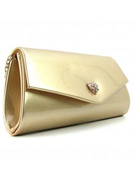 Фото Золотая лаковая сумочка на плечо Rose Heart 103056