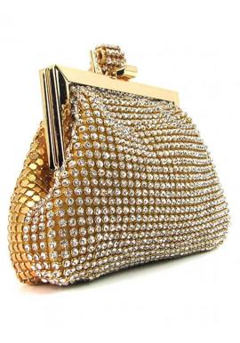 Фото Гламурный золотой женский клатч-кошелек со стразами