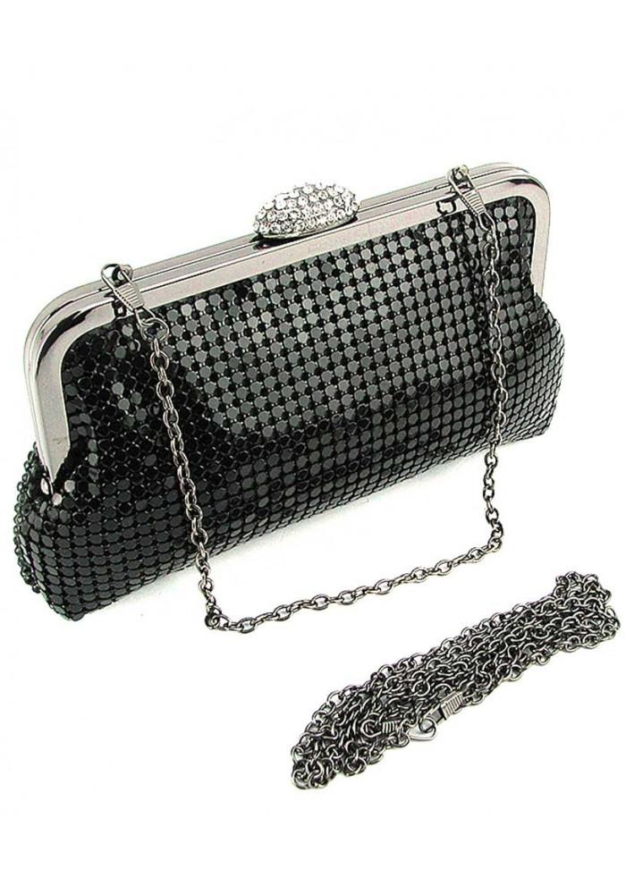 4a1cefb7fa76 ... Черный клатч со стразами мягкой формы, фото №2 - интернет магазин  stunner.com ...