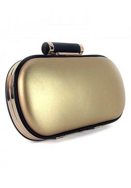 Фото Овальный золотой женский клатч-бокс 975