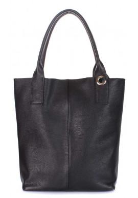 Фото Женская кожаная сумка мягкой формы Poolparty Podium Black