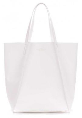 Фото Белая кожаная женская сумка Poolparty Edge White