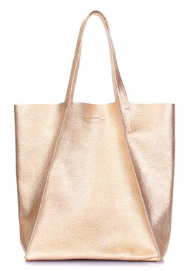 Фото Золотистая кожаная женская сумка Poolparty Edge Gold