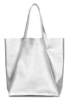Фото Серебристая кожаная женская сумка Poolparty Edge Silver