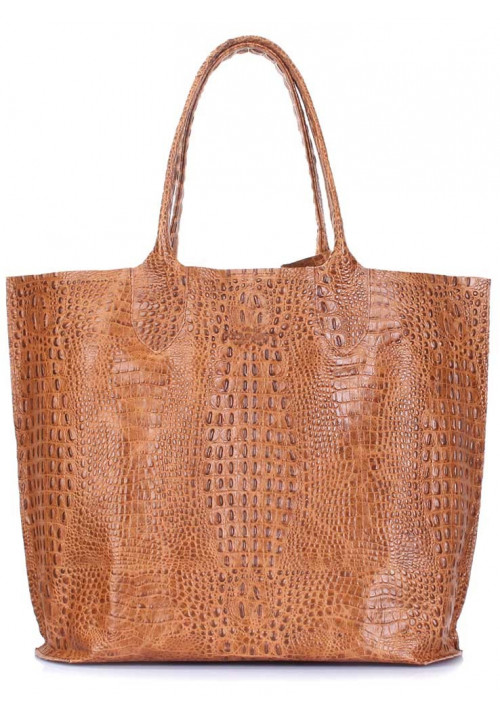 Светлая кожаная женская сумка Poolparty Amphibia Croco Beige