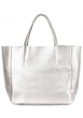 Фото Серебряная женская сумка из кожи Poolparty Soho Silver
