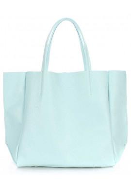 Фото Голубая кожаная женская сумка Poolparty Soho Babyblue