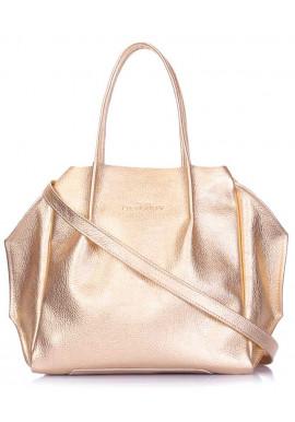 Фото Кожаная сумка с золотым блеском Poolparty Soho RMX Gold