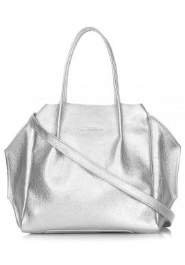 Фото Кожаная сумка с серебряным блеском Poolparty Soho RMX Silver