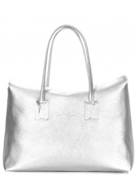 Фото Кожаная женская сумка серебро Poolparty Sense Silver