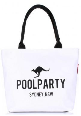 Фото Белая женская сумка из хлопка Poolparty Pool-9 White