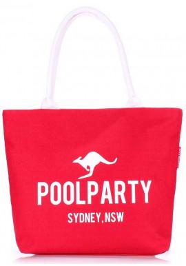 Фото Красная хлопковая женская сумка Poolparty Pool-9 Red