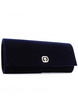 Фото Темно-синий женский клатч из велюра 103205