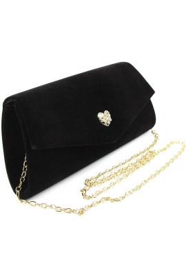 Фото Стильная сумочка из черного велюра Rose Heart 103056-1