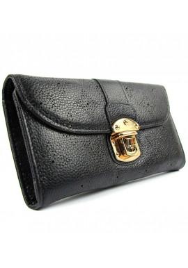 Фото Черный кожаный женский кошелек LV 58123