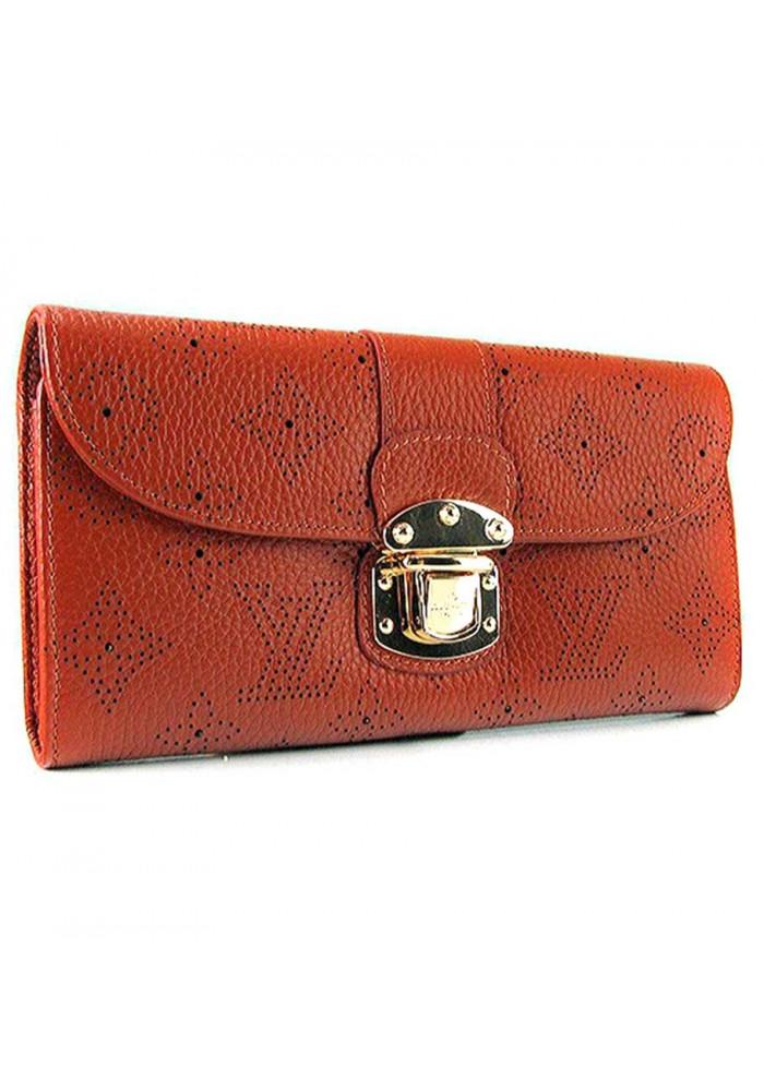 Фото Коричневый кожаный женский кошелек LV 58123