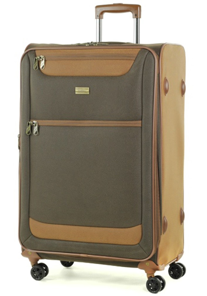 Замшевый чемодан на колесах Boston L Dark Brown