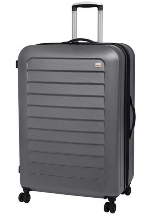Серый чемодан с колесами Members Chevron L Grey