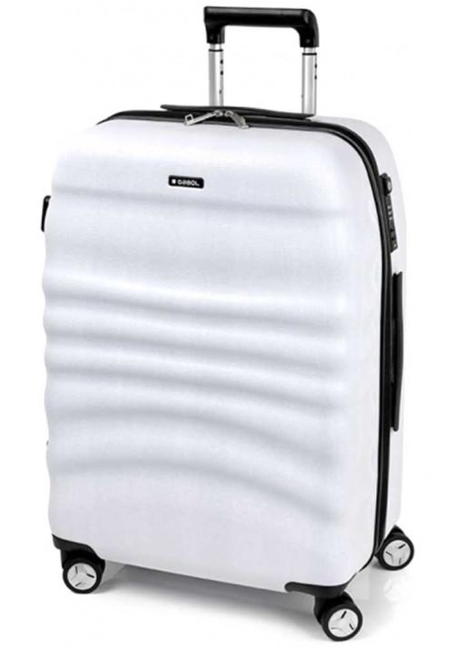 Белоснежный чемодан на колесах Gabol Wrinkle L White