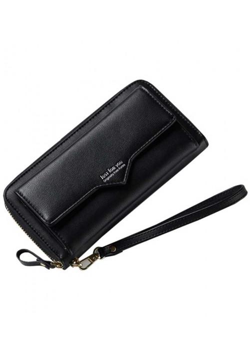 Женский кошелек с отделом для телефона Amelie Black