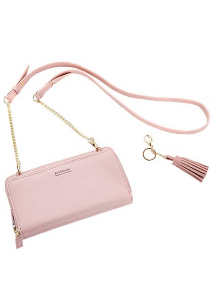 Розовый женский кошелек-клатч Amelie Honey Pink
