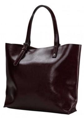 Фото Коричневая кожаная сумка-шопер для женщины