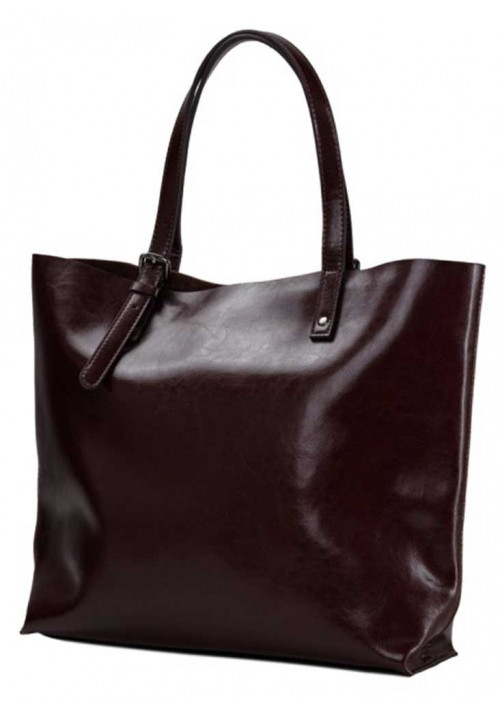 Коричневая кожаная сумка-шопер для женщины