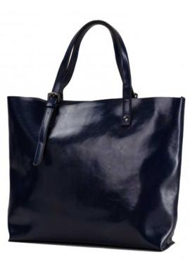 Фото Синяя кожаная сумка-шопер для женщины