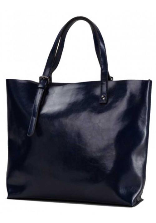 Синяя кожаная сумка-шопер для женщины