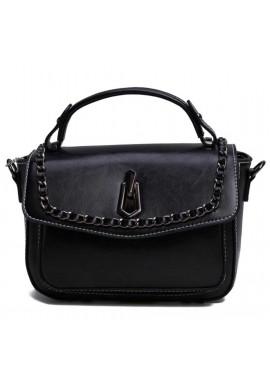 Фото Женская кожаная сумка кроссбоди черная