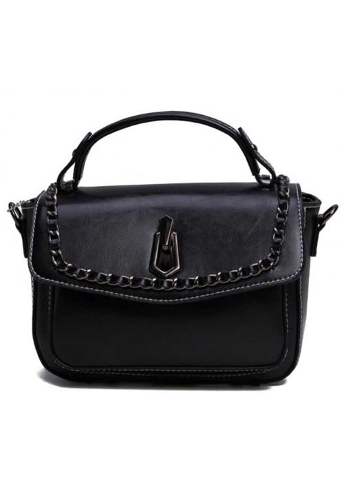 Женская кожаная сумка кроссбоди черная
