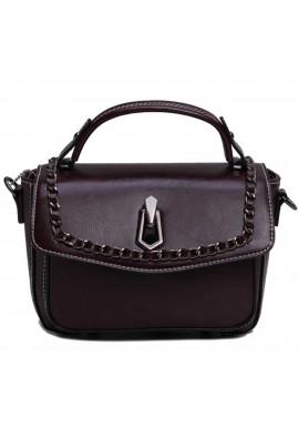 Фото Женская кожаная сумка-кроссбоди темно-коричневая