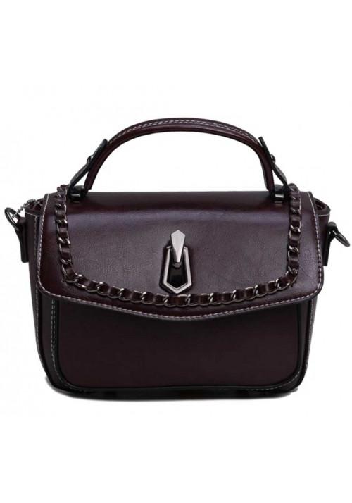 Женская кожаная сумка-кроссбоди темно-коричневая