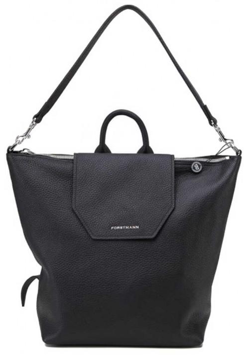 Женская кожаная сумка-рюкзак Forstmann черная
