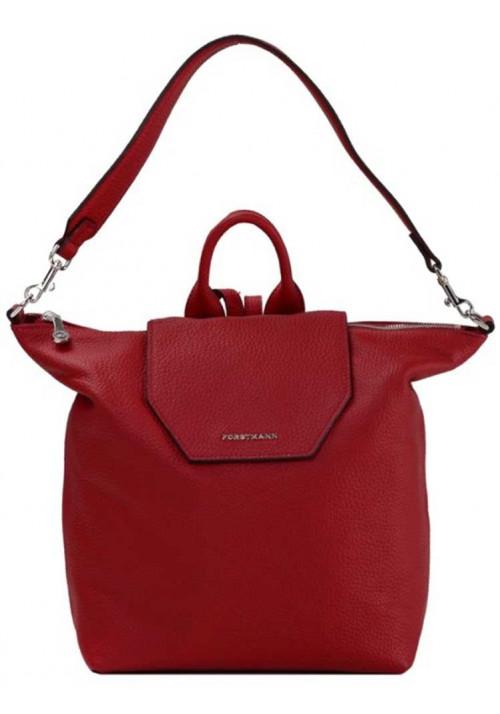 Красная кожаная сумка-рюкзак Forstmann