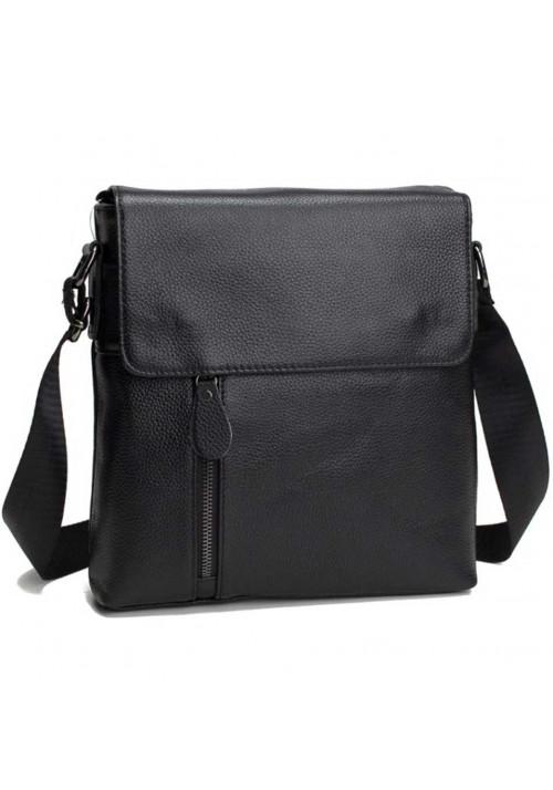 Черная мужская кожаная сумка на плечо Tiding Bag