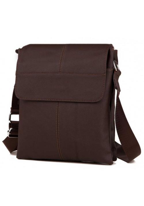 Кожаная сумка на плечо для мужчины Tiding Bag коричневая