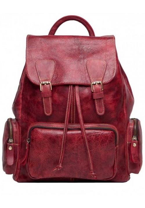Красный кожаный женский рюкзак Tiding Bag