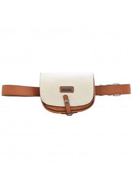 Фото Бело-коричневая женская сумка на пояс YW-27 Citta