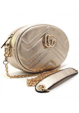 Фото Женская сумка на пояс - клатч Valensiy 20875 золотистая