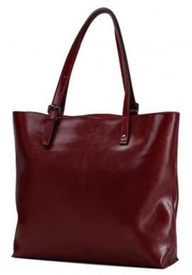 Кожаная сумка-шопер бордового цвета Grays